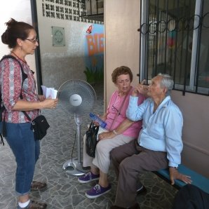 Kim and Carmella visit one of the residents at Damien House, a residence for men and women with Hansen's Disease in Guayaquil.